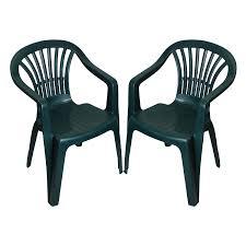 Garden & <b>Patio Furniture 2</b> x Plastic Garden Low Back <b>Stackable</b> ...