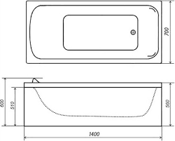 <b>Акриловая ванна Triton Стандарт</b> 140x70 Н0000099327 в Москве ...