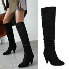 <b>New Fashion Women's</b> Cone Heel <b>Pointy</b> Toe Slouchy Mid Calf ...