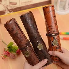 <b>Vintage Retro</b> Treasure Map <b>Pencil</b> Cases Luxury Roll Leather PU ...