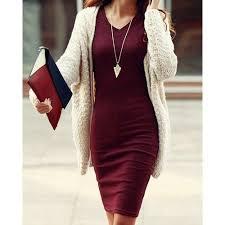 Simple <b>Design V</b>-<b>Neck</b> Long Sleeve <b>Solid Color</b> Bodycon Dress For ...