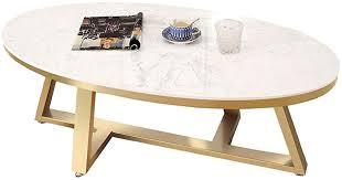 DXJNI - White Marble Coffee Table, <b>Oval</b> Tea Table, Gold <b>Geometric</b> ...