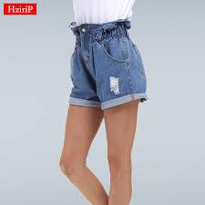 HziriP Summer <b>Denim Shorts Women</b> Curling <b>Hole</b> Loose Casual ...