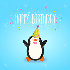 happy birthday card background cute penguin vector holiday happy birthday card background cute penguin vector holiday party template stock vector 27710619