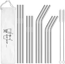Hiware 12-Pack Reusable <b>Stainless Steel</b> Metal <b>Straws</b> with Case
