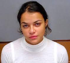 Michelle Rodriguez, mugshot, DUI Previous Next Michelle Rodriguez's eyes look completely bloodshot in her mugshot for DUI in 2006.