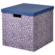 <b>TJENA ТЬЕНА</b> Коробка с крышкой, синий/сиреневый/с рисунком ...