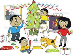 Resultado de imagen para una familia decorando para la navidad