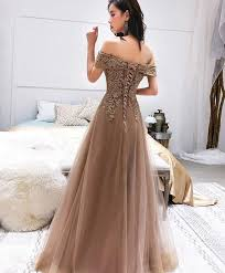 <b>Champagne tulle</b> off shoulder long prom dress, <b>tulle</b> evening dress ...