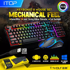 <b>T</b>-<b>WOLF TF200</b> Rainbow LED Gaming Keyboard And Mouse ...