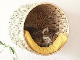 wicker wall mounted cat bed lounger diy hacked from an ikea basket that cat lovers 27 diy