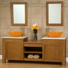 dual vanity bathroom: quot bashe bamboo dual vessel sink vanity with travertine top
