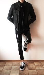 vans old skool black <b>rock</b> outfit | boys <b>guys</b> in leather pants <b>jacket</b> ...