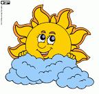 Раскраска солнце и облака