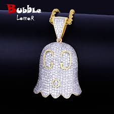 Ghost Face Chain Necklace & Pendants <b>Gold Color Iced</b> Cubic ...