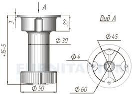 <b>1033 Ножка пластиковая с</b> базой, h=120 мм белая, 1033.A120 R ...
