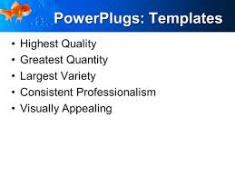 powerpoint template goldfish in blue water water bubbles  powerpoint template services business marketing print slide