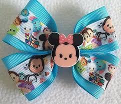 """Girls Hair <b>Bow</b> 4"""" Wide Tsum Tsum Aqua Blue Minnie Mouse ..."""