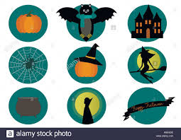 <b>Halloween elements</b>- <b>bat</b>, <b>pumpkin</b>, witch and spider on white Stock ...