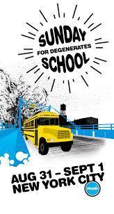 sunday school for degenerates nyc capsule design flyer for sunday school for degenerates nyc