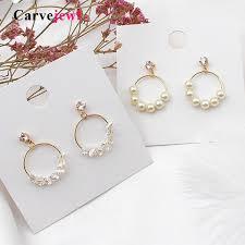 <b>Carvejewl</b> Korea design Circle pendant Simulated Pearl <b>dangle</b> ...