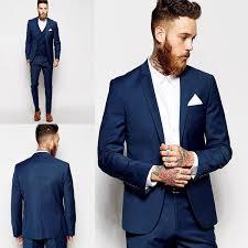 Custom Made <b>Groom Tuxedos Groomsmen Dark</b> Blue Vent Slim ...