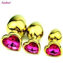 <b>Анальная пробка с кристаллом</b> золотого цвета в форме сердца ...