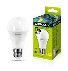 <b>Лампочка Ergolux</b> LED-A60-<b>17W</b>-<b>E27</b>-3K, Теплый свет, <b>E27</b>, 17 Вт ...