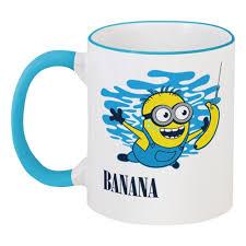 """Кружка с цветной ручкой и ободком """"<b>Banana</b>. <b>Миньоны</b> ..."""
