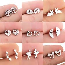 Jisensp <b>Stainless Steel</b> Mickey <b>Stud</b> Earrings for Women Kids ...