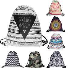 Xmas Gift- Unisex <b>HAKUNA MATATA</b> Geometric Backpack 3D ...