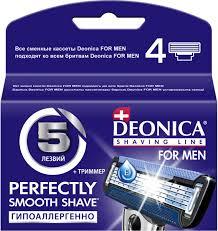 """Сменные <b>кассеты</b> для бритв <b>Deonica</b> """"5 for men"""" с керамическим ..."""
