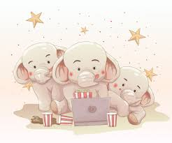 Three <b>cute</b> elephants watching movie together on <b>laptop</b>. vector ...
