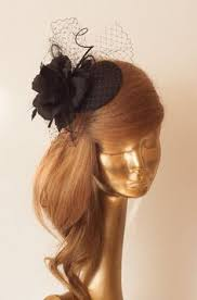 Amazing BLACK <b>FASCINATOR</b> with Silk Flower & Black French ...