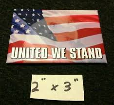 """<b>1 Pair Magnetic</b> Patriotic Flags """"United We Stand"""" Qty of 2 ea"""