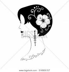 <b>Exquisite</b> Short-haired Female Profile With Black Hair, <b>Hibiscus</b> ...