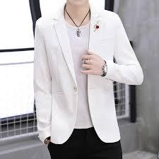<b>2019 Korean</b> Fashion Blazer Jacket Men <b>Yellow</b> Solid Vintage Slim ...