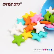 <b>TYRY</b>.<b>HU</b> Food Grade 5Pcs Star <b>Silicone</b> Beads Baby Teething ...