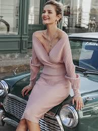 <b>Sexy v</b>-<b>neck</b> women <b>knitted</b> dress Autumn winter batwing sleeve ...