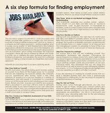 a six step formula for finding employment by jennifer ritchie a six step formula for finding employment the education system in south africa both secondary and tertiary provides little guidance or insight into the