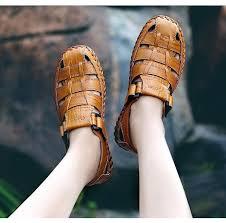 New Summer Men Sandals <b>High Quality Genuine Leather</b> ...