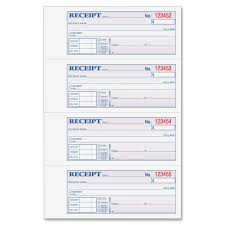 com adams money and rent receipt book part carbonless com adams money and rent receipt book 3 part carbonless white canary pink 7 5 8 x 10 7 8 100 sets per book tc1182 blank receipt forms