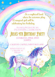 unicorn rainbow birthday party printable invitation home > products printables > children > invitations > unicorn rainbow birthday party printable invitation