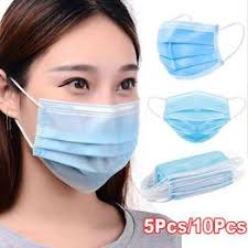5PC/10PC Non Woven Blue Disposable Face Mask <b>3 Layer Earloop</b> ...