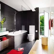 architecture bathroom toilet: full size of  modern toilet design shower tub combo with glass partition minimalist bathroom decorating idea handsome black ceramic bathroom flooring tile red bath rug beige metal rack holder wall mounted glass door bathtub shower