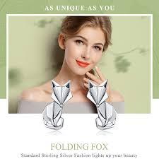 BAMOER Hot Sale <b>Genuine 925 Sterling Silver</b> Fashion Folding Fox ...