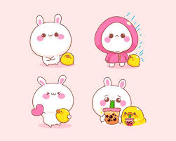 Free Vector   Set of <b>cute rabbit</b> with duck different posture cartoon ...