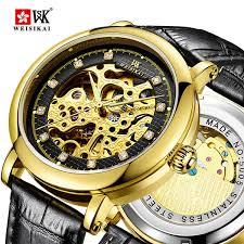 2018 <b>WEISIKAI</b> Diamond Automatic Watch Men Hollow Leather ...