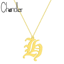 Chandler Tiny Dainty Initial Letter H Necklace <b>Personalized Old</b> ...
