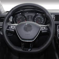 <b>Hand stitched Black Artificial Leather</b> Steering Wheel Cover for ...
